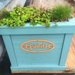 Лазерная резка фанеры окраска брендирование летней веранды зонирование цветочными вазонами кафе Грабли пример 225