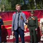 Оформление ко Дню Победа интерьерная печать на баннере сетке пресс-волл 9 мая РостАрт Москва 2018