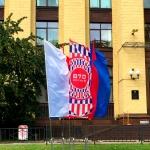 Изготовление флаговой конструкции металл пошив флагов полноцветная печать флагов РостАрт Москва 2017 991