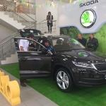 Изготовление флажной ленты на заказ желтая зеленая для презентации Шкода Кодиак РостАрт Москва 2017