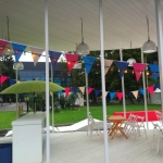 Флажная лента на заказ большие флажки оформление кафе ВВЦ пример 1011