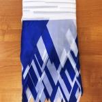 Изготовление флажной ленты на заказ из ткани двухцветная бело-синяя флажная лента из ткани РостАрт Москва 2018 16823