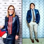 Пресс-волл для бутика LONGCHAMP Ксения Собчак и Андрей Малахов Москва 2017