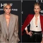 Пресс-волл фотозона вечеринка Women in Hollywood журнала Elle Леди Гага Шарлиз Терон Лос-Анджелес США 2018