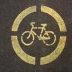 Трафарет на асфальт - знак велодорожки