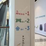 Лазерная резка акрила (пластика) для внутренней навигации торгового центра Ривьера пример 222 2016год