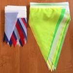 Изготовление флажной ленты гирлянда из флажков нестандартного размера 30см на 40 см желто-зеленая изготовитель РостАрт 5518