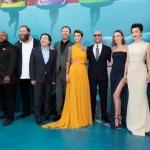 Пресс-волл фотозона премьера фантастического фильма ужасов Мег Монстр глубины Команда фильма Лос-Анджелес 2018