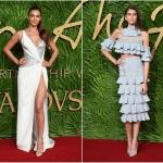 Пресс-волл с пальмовыми ветками и инкрустацией надписи премии Fashion Awards 2017 Ирина Шейк Кайя Гербер Лондон 2017