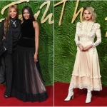 Пресс-волл с пальмовыми ветками и инкрустацией надписи премии Fashion Awards 2017 Наоми Кэмпбелл с мамой Селена Гомес Лондон 2017