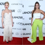 Пресс-волл фотозона премия журнала Glamour Women of the Year Awards Эмбер Херд Эшли Херд Нью-Йорк США 2018