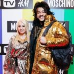 Пресс-волл фотозона  новой коллаборации брендов Moschino и H&M Яна Рудковская Филипп Киркоров Москва 2018
