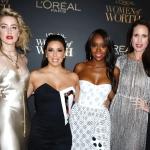 Пресс-волл фотозона церемония вручения наград Women of Worth от L'Oréal Paris Эмбер Херд Эйджа Наоми Кинг Ева Лонгория Энди МакДауэлл Нью-Йорк 2018